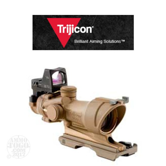 1 - Trijicon ACOG TA01ECOS 4x32 DE Brown Scope, Amber Crosshair