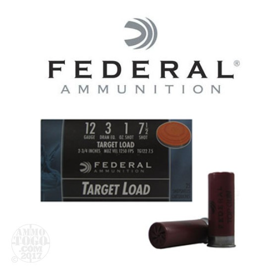 "250rds - 12 Gauge Federal Top Gun 2-3/4"" 3 Dram 1oz. #7.5 Shot Ammo"