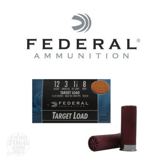 "250rds - 12 Gauge Federal Target Load 2 3/4"" 3 Dram 1 1/8oz. #8 Shot Ammo"