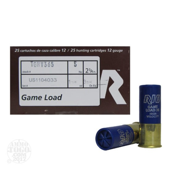 25rds - 12 Gauge Rio Top Game High Velocity #5 Shot Ammo