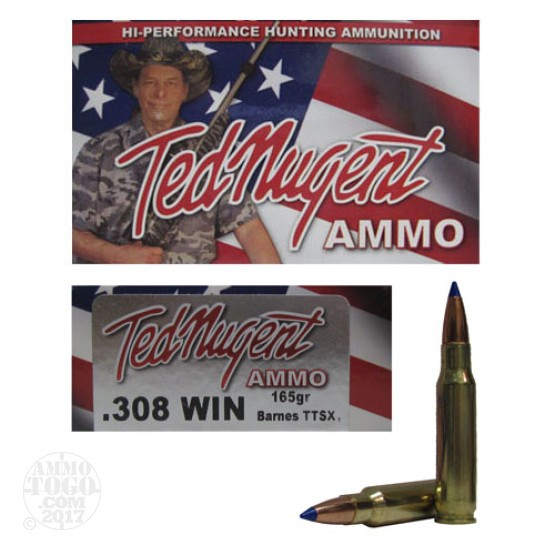 20rds - 308 Win. Ted Nugent 165gr. Tipped TTSX Boattail Ammo