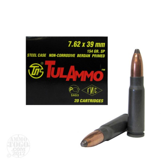 20rds - 7.62x39 Tula 154gr. Soft Point Ammo
