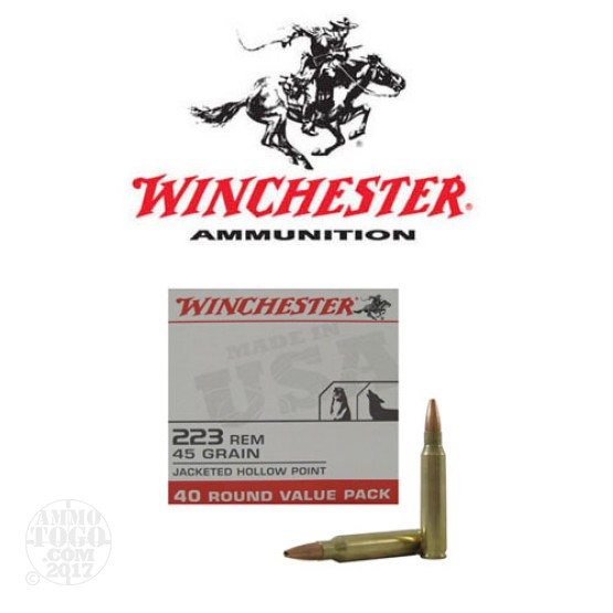 400rds - .223 Winchester USA Value Pack 45gr. JHP Ammo