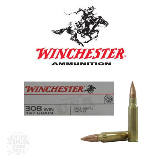 200rds - 308 Winchester USA 147gr. FMJ Ammo
