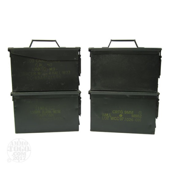 4 - USGI 50cal. Ammo Can - Fair Condition w/ Dessicant