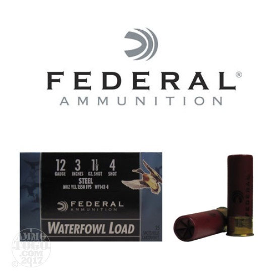 "250rds - 12 Ga. Federal Speed-Shok 3"" 1 1/8oz. #4 Steel Shot Ammo"