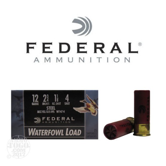 "250rds - 12 Ga. Federal Speed-Shok 2 3/4"" 1 1/8oz #4 Steel Shot Ammo"