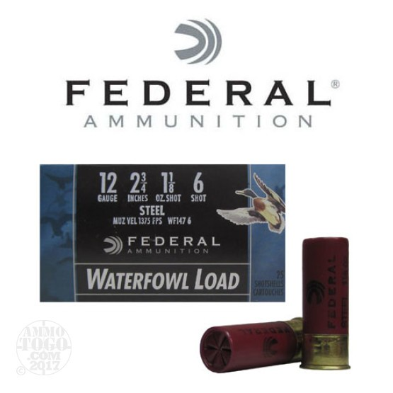 "250rds - 12 Ga. Federal Speed-Shok 2 3/4"" 1 1/8oz #6 Steel Shot Ammo"