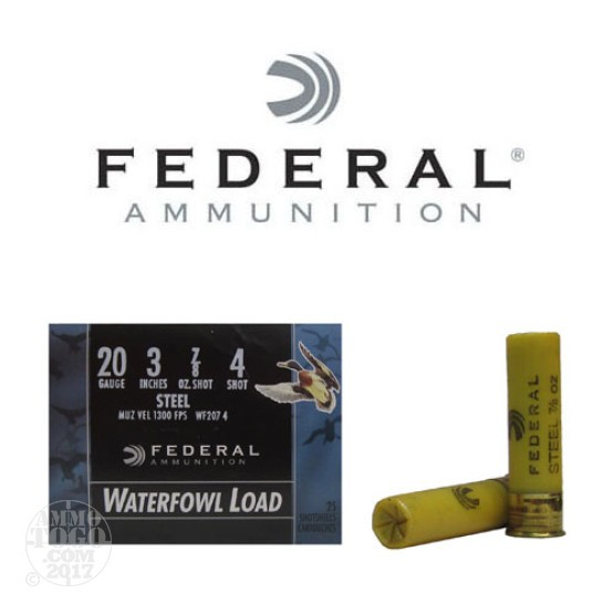 "25rds - 20 Gauge Federal Speed-Shok 3"" 7/8oz #4 Steel Shot Ammo"