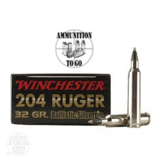 20rds - 204 Ruger Winchester 32gr. Supreme Ballistic Silvertip Ammo