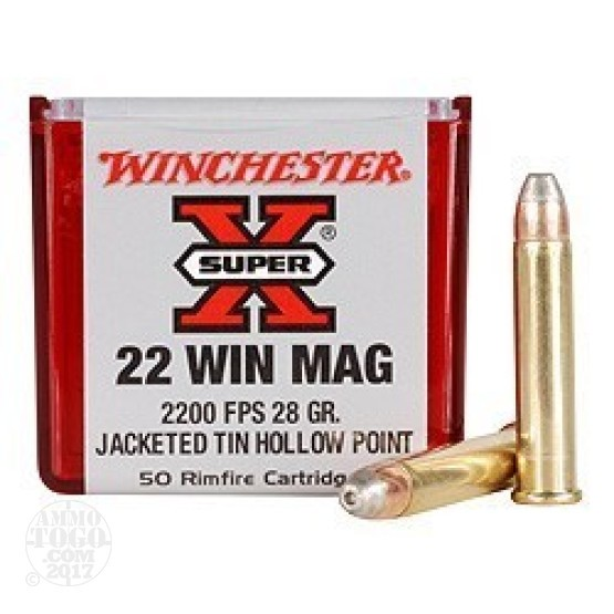 50rds - 22 Mag Winchester Super-X 28gr. Lead Free HP Ammo