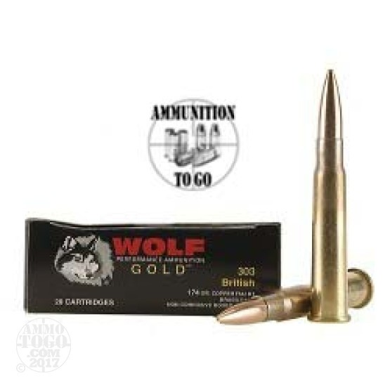 20rds - 303 British Wolf Gold 174gr. Full Metal Jacket Ammo