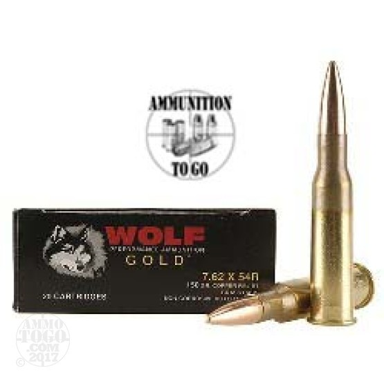 20rds - 7.62x54R Wolf Gold 150gr Full Metal Jacket