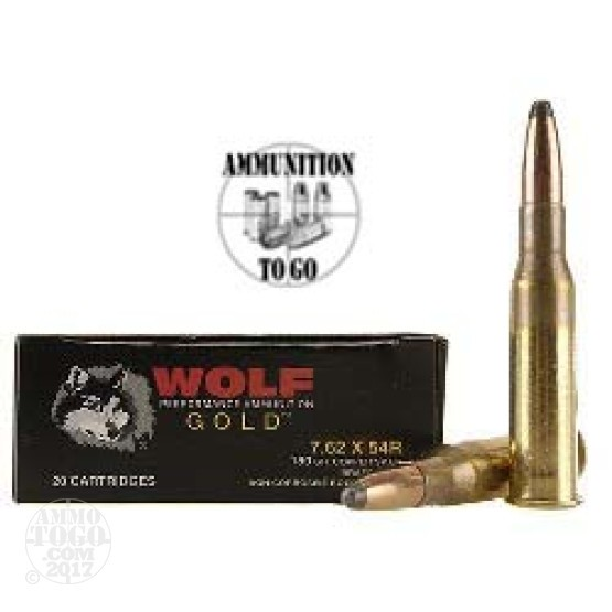 20rds - 7.62x54R Wolf Gold 180gr Copper Soft Point Ammo