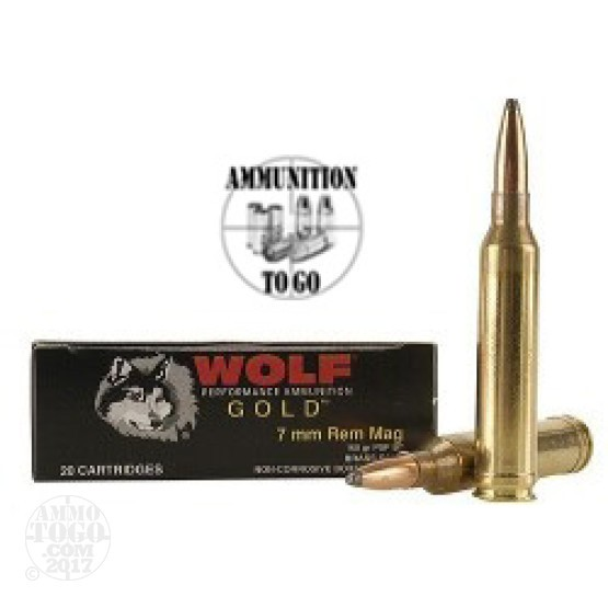 20rds - 7mm Rem. Mag Wolf Gold 160gr Soft Point Ammo