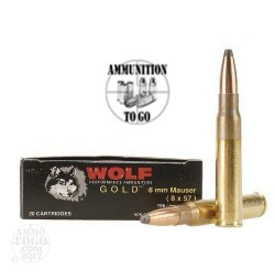 20rds - 8mm Mauser Wolf Gold 196gr Copper SP Ammo