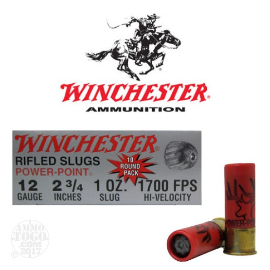 "10rds - 12 Gauge Winchester Super-X Power Point 2 3/4"" 1oz. Foster Slug Ammo"