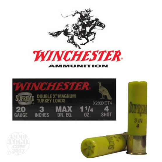 "100rds - 20 Gauge Winchester Supreme Double X Magnum 3"" 1 1/4oz. #4 Turkey Load"