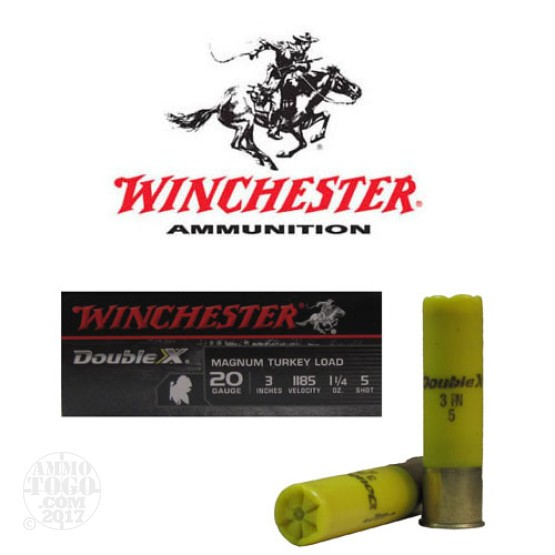 "100rds - 20 Gauge Winchester Supreme Double X 3"" 1 1/4oz. #5 Turkey Load"