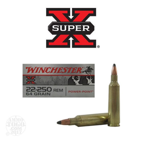 20rds - 22-250 Winchester Super-X 64gr. Power Point Ammo