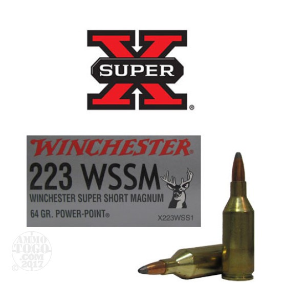 20rds - 223 Winchester WSSM 64gr. Super-X Power Point Ammo