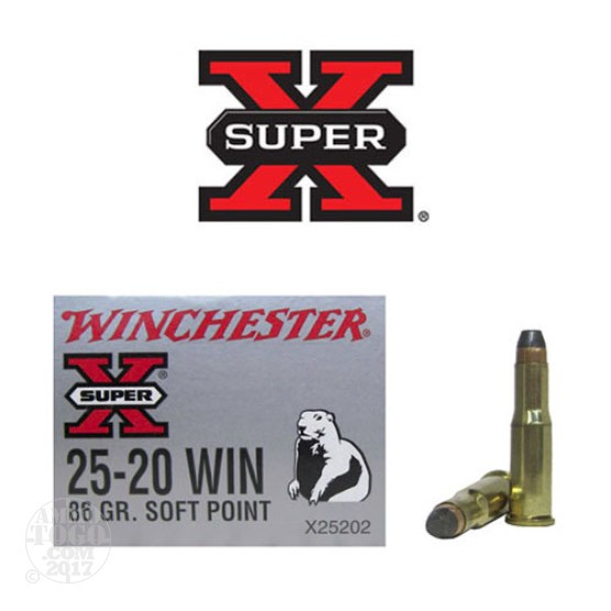 50rds - 25-20 Winchester Super-X 86gr. Soft Point Ammo