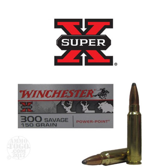 20rds - 300 Savage Winchester 150gr. Super-X Power Point Ammo