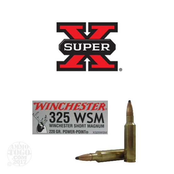 20rds - 325 WSM Winchester Short Magnum Super-X 220gr. Power Point Ammo