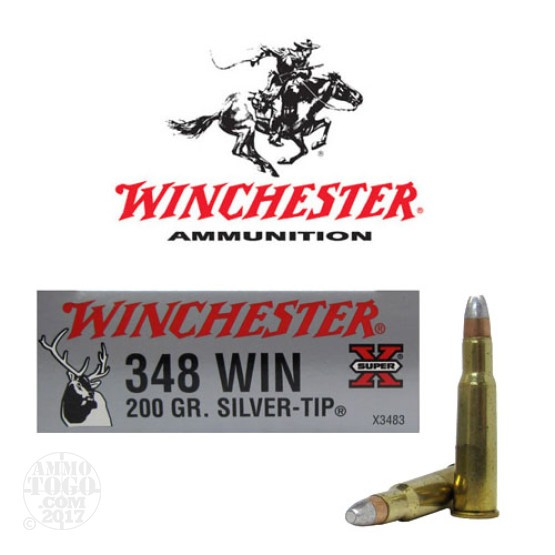 20rds - 348 Winchester Super-X 200gr. Silver-Tip Ammo