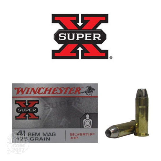 20rds - 41 Mag Winchester Silver Tip 175gr. JHP Ammo