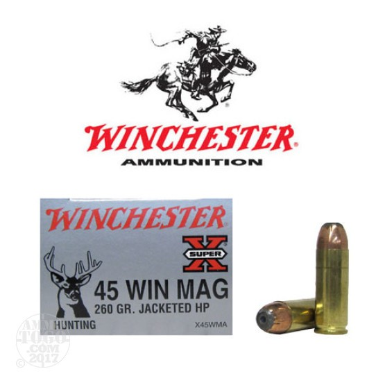 20rds - 45 Win Mag Winchester Super X 260gr. JHP Ammo