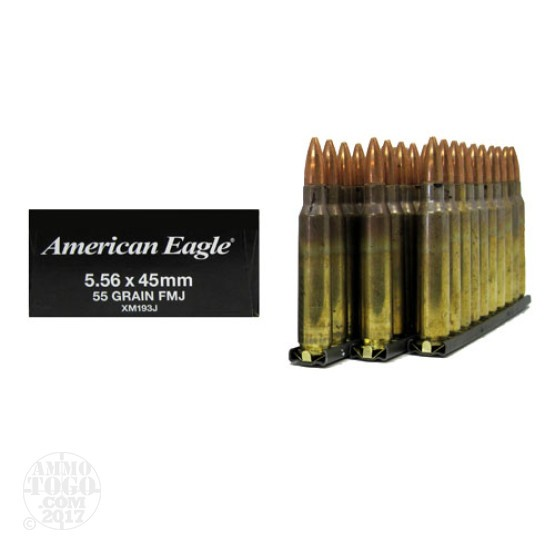 30rds - 5.56 Federal XM193J 55gr. FMJ Ammo on Stripper Clips