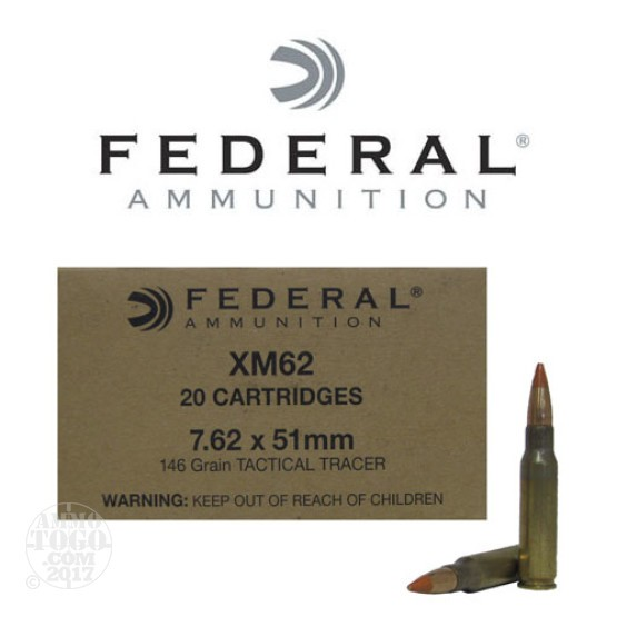 20rds - 7.62 x 51 Federal XM62 146gr. Tactical Long Range Tracer