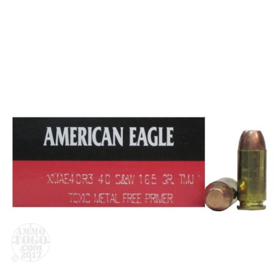 50rds - 40 S&W Federal American Eagle 165gr. TMJ Toxic Metal Free Primers Ammo