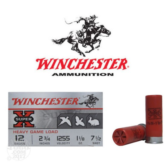 "250rds - 12 Gauge Winchester Super-X Heavy Game Load 2 3/4"" #7 1/2 Shot Ammo"