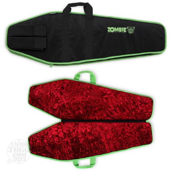 "1 - Bulldog 43"" Zombie Tactical AR Case Black/Green with Red Inside Trim"
