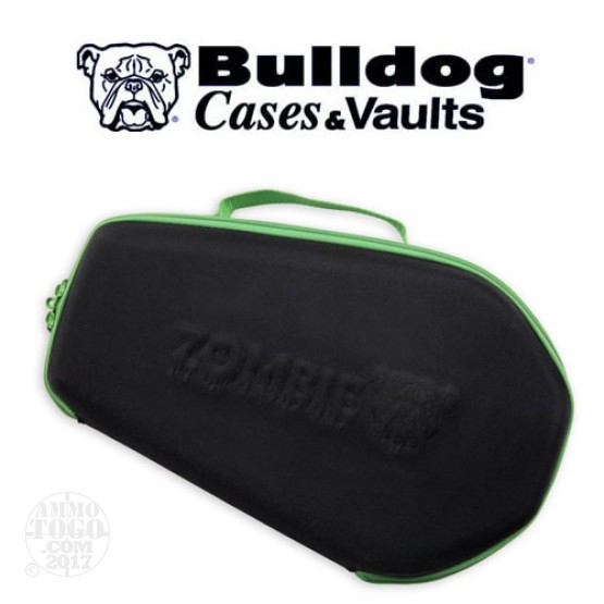 "1 - Bulldog Zombie Pistol Case 14"" x 9"" Black with Green Trim"