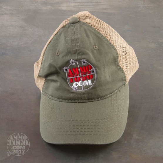 1 - GameGuard Olive Drab Green With Tan Mesh Fishing Cap With Ammo To Go Logo