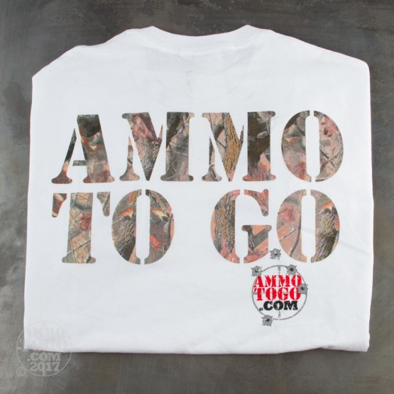 1 - White T-Sleeve Shirt (Medium) With Camo In Ammo To Go Logo