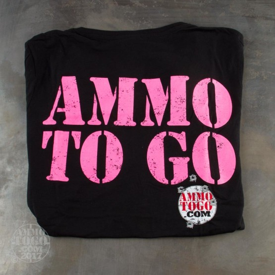 1 - Black T-Sleeve Shirt (Medium) With Pink Ammo To Go Logo