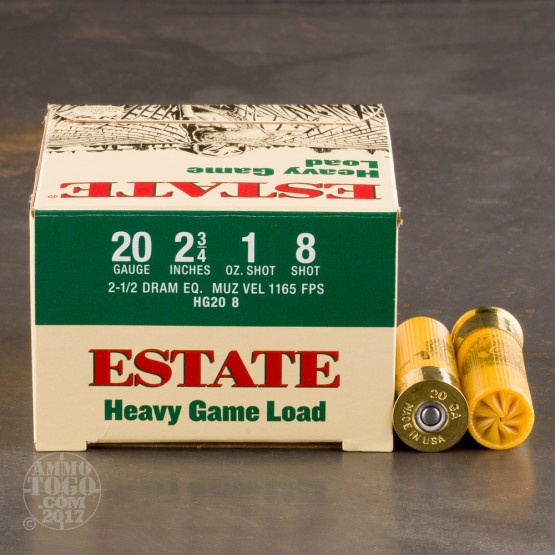 "25rds - 20 Gauge Estate 2 3/4"" 1oz. #8 Shot Heavy Game Load Ammo"