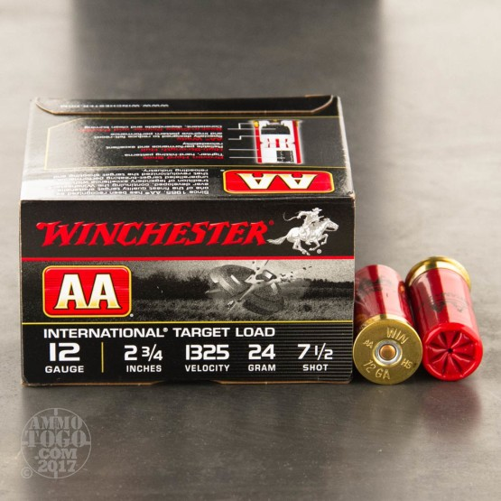 "25rds - 12 Gauge Winchester AA International Target 2 3/4"" 24gr. #7.5 Shot Ammo"