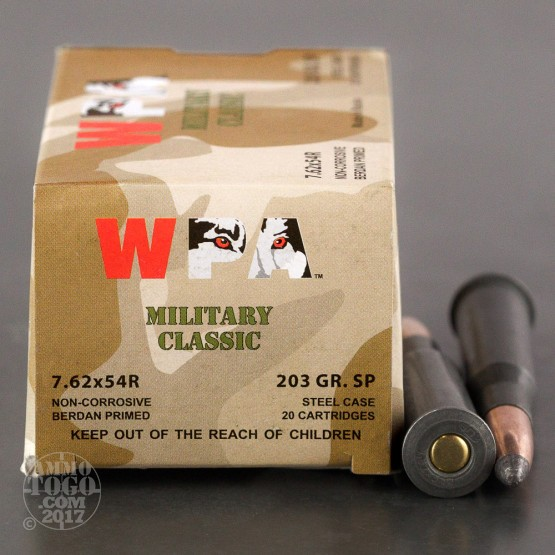 20rds – 7.62x54R WPA MILITARY CLASSIC 203gr. SP Ammo