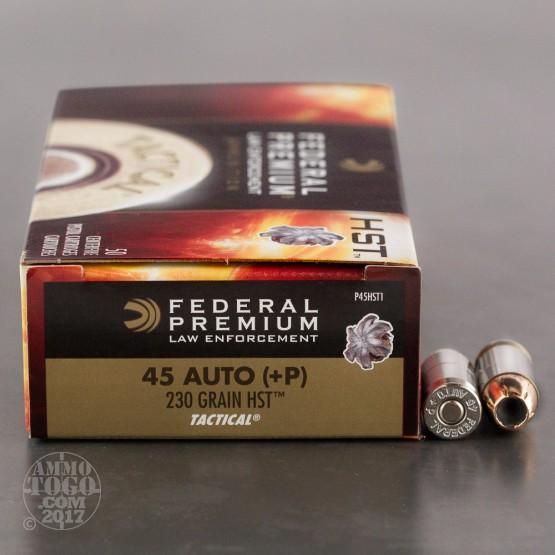 50rds - 45 ACP Federal LE Tactical HST 230gr. +P HP Ammo