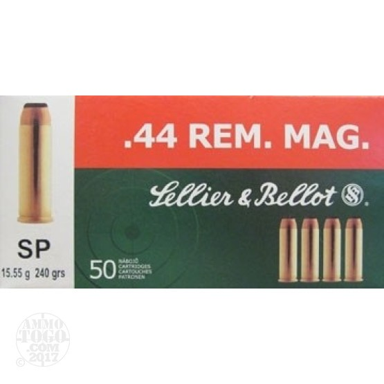 50rds - 44 Mag Sellier & Bellot 240gr. SP Ammo