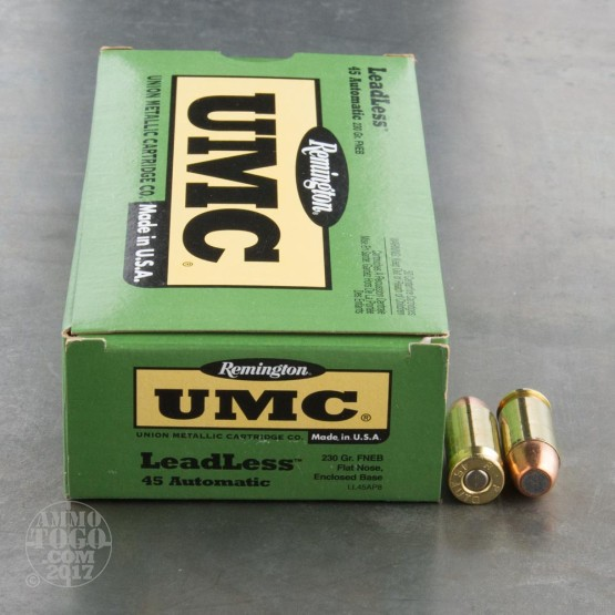500rds - 45 ACP Remington UMC 230gr. Flat Nose Enclosed Base Leadless