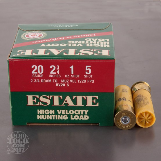 "25rds - 20 Gauge Estate HV Hunting 2 3/4"" 2 3/4 Dram 1oz. #5 Shot Ammo"