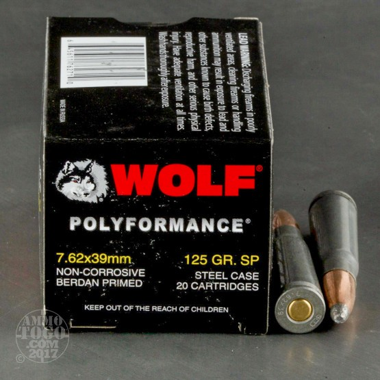 20rds - 7.62x39 WPA Polyformance 125gr. Soft Point Ammo