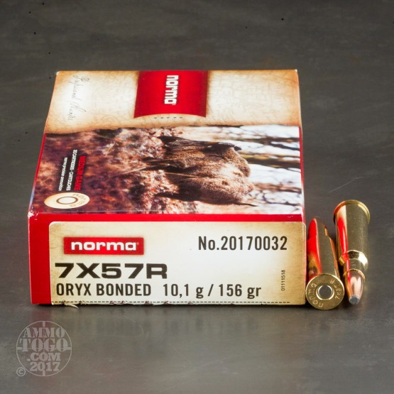 20rds - 7mm Mauser Rimmed (7x57R)  Norma 156gr. Oryx SP Ammo