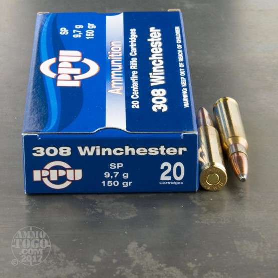 20rds - .308 Prvi Partizan 150gr. Soft Point Ammo